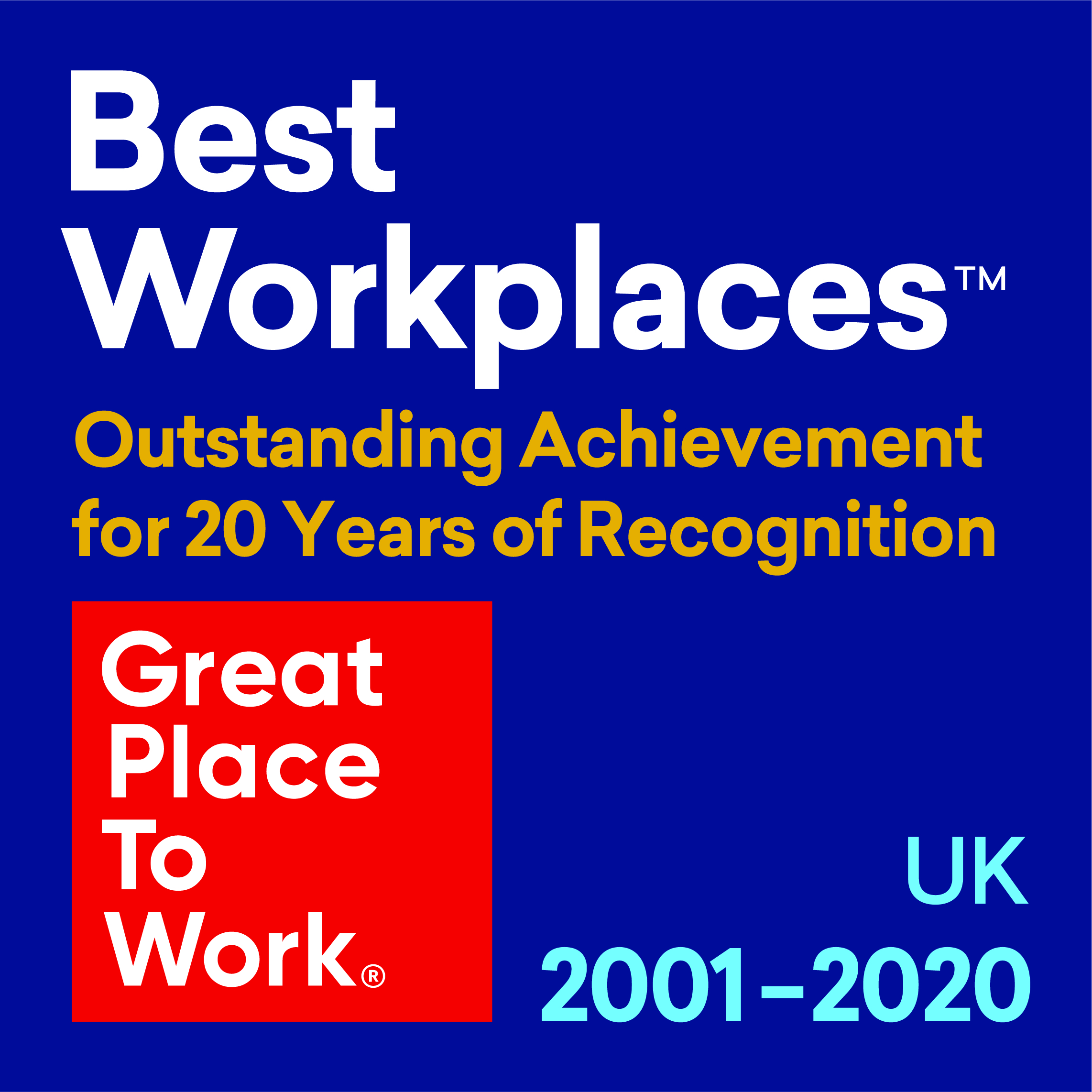 Best Workplaces Outstanding Achievement 2001 - 2020